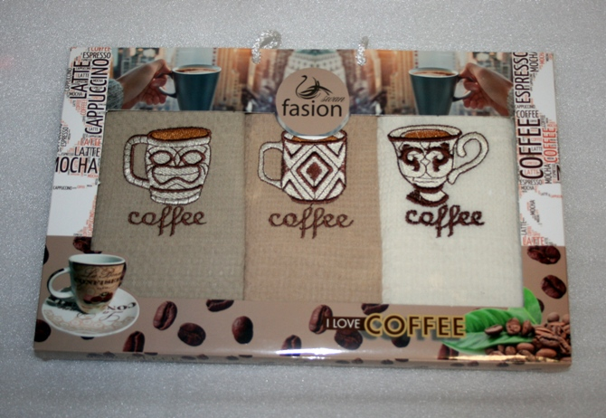 Utěrka 3 SET - KAZETA COFFEE